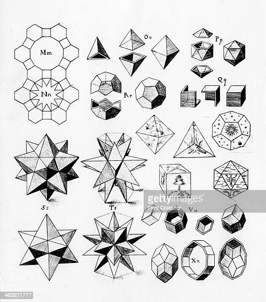 Regular geometrical solids of various types 1619 On centre right are the geometrical solids for the elements Earth Air Fire Water and the fifth...