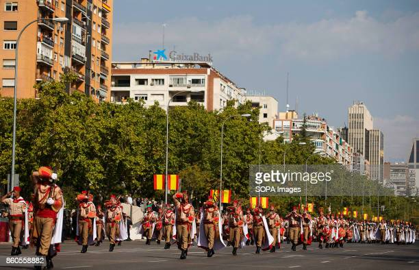 Regulars from Ceuta are pictured during the parade through the streets of Madrid National day military parade has been held in Madrid with a thematic...