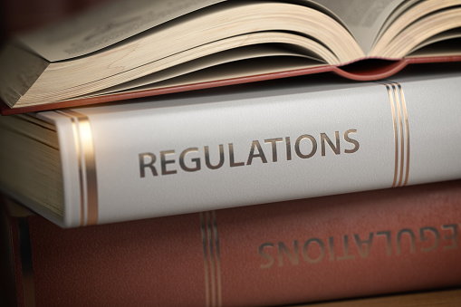 Regulations book. Law, rules and regulations concept. 1134912783
