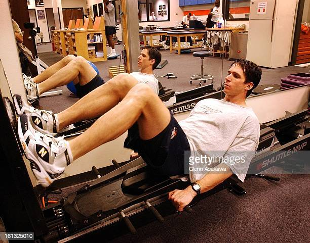 REHAB111501Denver Bronco wide receiver Ed McCaffrey warms up with incline squats at the Broncos training facility as part of his rehabilitation...