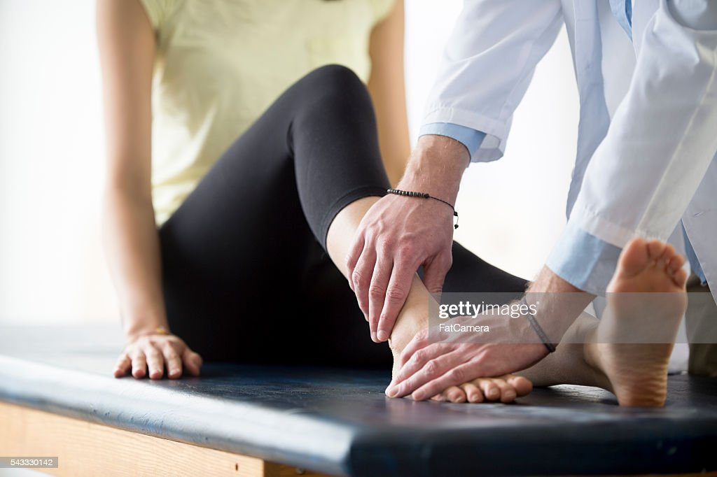 Rehabilitation After an Ankle Injury : Stock Photo