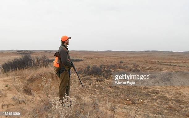 Rehan Nana looks out over ideal lesser prairie chicken habitat November 23 in Edwards County Kansas The main tactic for hunting the birds is marching...