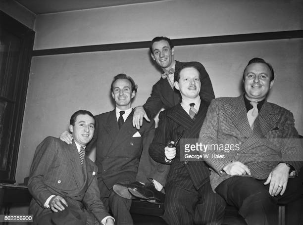 A rehearsal for 'Murdering a Song at the Piano' a segment of the radio comedy show 'Stand Easy' UK 4th October 1946 From left to right Charlie...