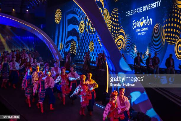 A rehearsal for the opening of the second Eurovision semifinal on May 10 2017 in Kiev UkraineUkraine is the 62nd host of the annual iteration of the...