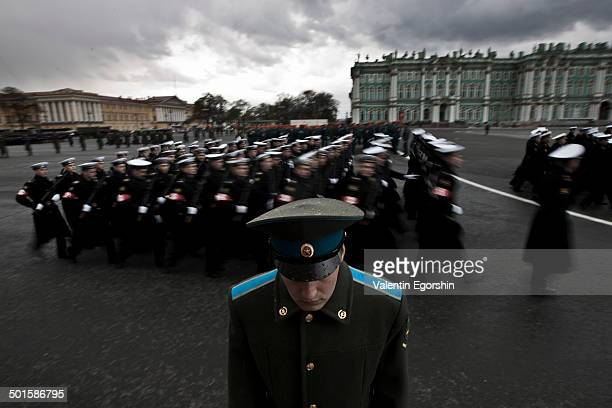 CONTENT] Rehearsal for the Victory Day military parade at Dvortsovaya Square in St Petersburg Russia