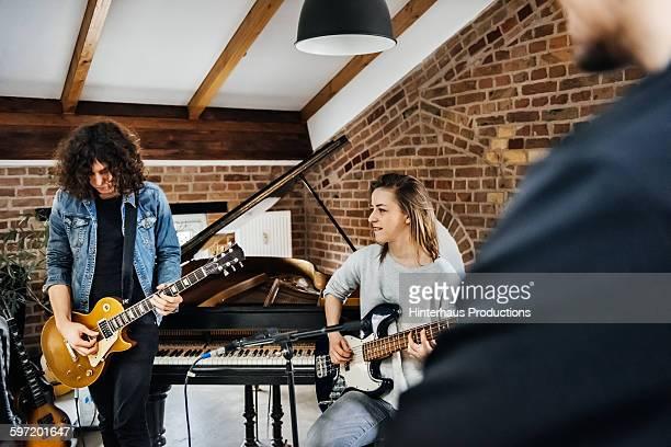 Rehearsal in a small recording studio