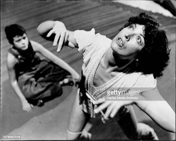 Rehearsal Of Flowers29yr old Annie Balfour who arrived from London on Monday 10/11/75 pictured at rehearsals of Flowers at the Hew Art Cinema Glebe...