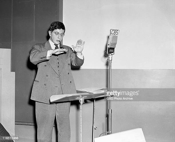 Rehearsal of The Free Company radio drama with conductor Bernard Herrmann Image dated April 6 1941