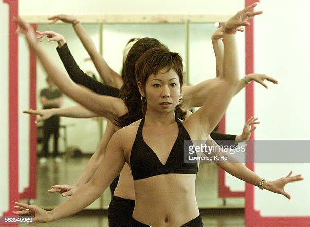 Rehearsal of the production Flower Drum at Mark Taper Forum annex Ensemble member Christine Yasunaga with other members rehearsing the Chop Suey...