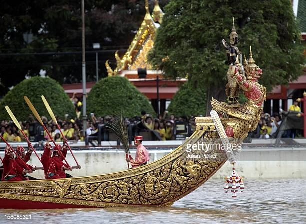 Rehearsal Of The Royal Barge Procession At The Royal Navy Club In Bangkok During The FiveDay Celebrations To Mark The 60Th Anniversary Of Thai King...