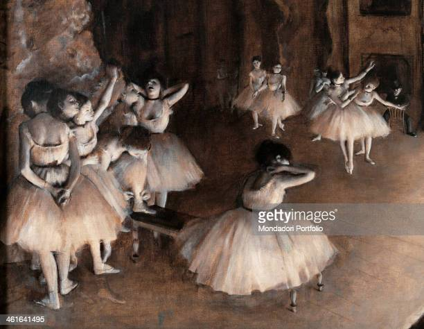 Rehearsal on Stage by Edgar Degas 19th Century oil on canvas France Paris Musée d'Orsay Detail A group of dancers rehearsing their show on the...