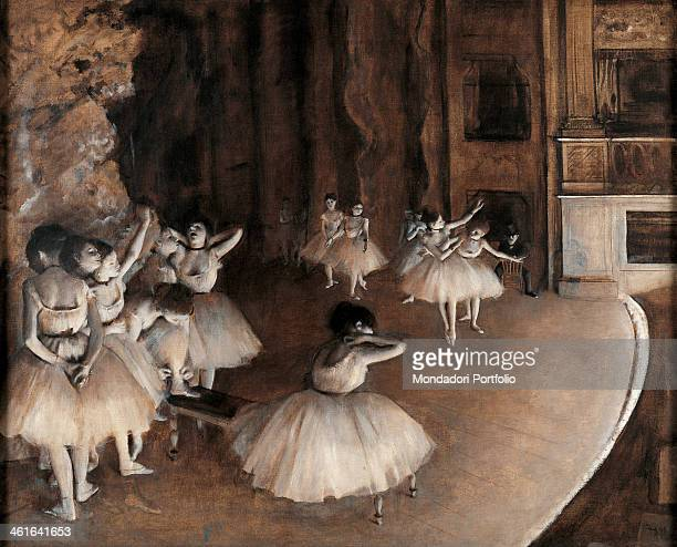Rehearsal on Stage by Edgar Degas 19th Century oil on canvas France Paris Musée d'Orsay Whole artwork view A group of dancer rehearsing their show on...