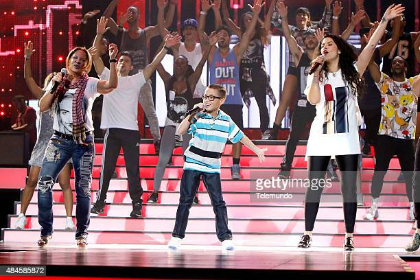 Ana María Polo Jonael Santiago and Litzy rehearse for the 2015 Premios Tu Mundo at the American Airlines Arena in Miami Florida on August 19 2015...