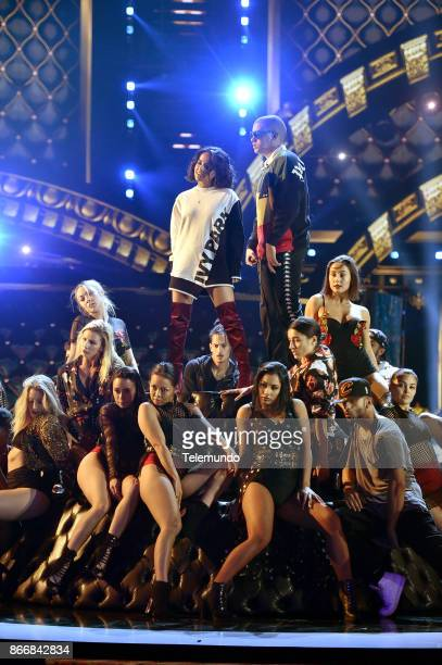 AWARDS 'Rehearsal' Pictured Becky G and Bad Bunny rehearse for the 2017 Latin American Music Awards at the Dolby Theater in Hollywood CA on October...