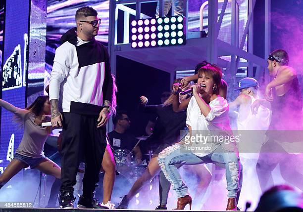 Farruko and Alejandra Guzmán rehearse for the 2015 Premios Tu Mundo at the American Airlines Arena in Miami Florida on August 19 2015 PREMIOS TU...