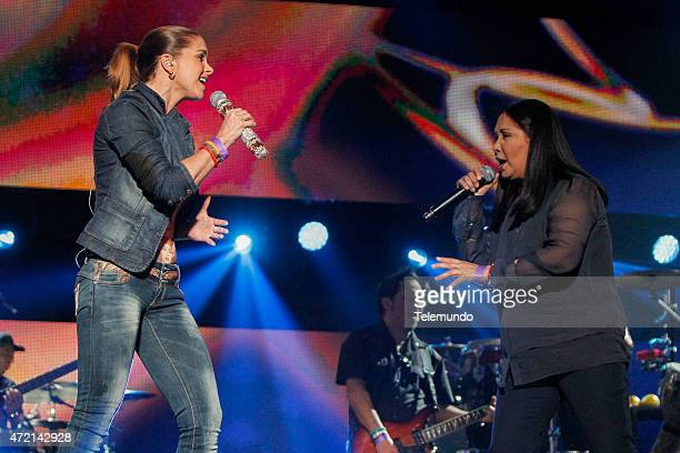 Lucero and Ana Gabriel rehearse for the 2015 Billboard Latin Music Awards from Miami Florida at the BankUnited Center University of Miami on April 28...