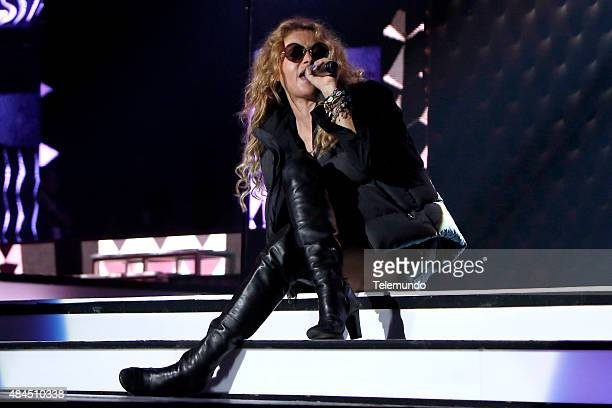 Rehearsal -- Pictured: Paulina Rubio rehearses for the 2015 Premios Tu Mundo at the American Airlines Arena in Miami, Florida on August 18, 2015 --...