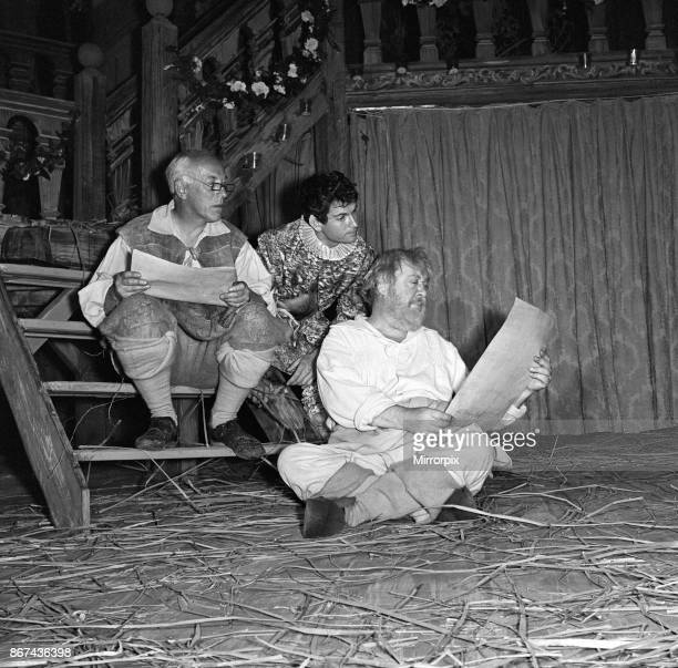 Rehearsals for 'A Midsummer Night's Dream' at the Shakespeare Memorial Theatre StratforduponAvon Pictured left to right Quince Puck and Bottom...