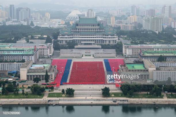 Rehearsals for celebrations marking the 70th anniversary of the founding of North Korea are undertaken in Kim Il-sung Square on August 19, 2018 in...