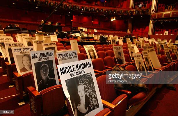 Rehearsals for the 74th Annual Academy Awards are underway with placards placed in the seats to indicate Oscar hopefuls and honored guests March 21...