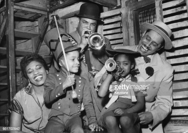 Rehearsals for the George Gershwin opera 'Porgy and Bess' at the Empire Theatre in Paris France 15th February 1953 Pictured are American jazz singer...