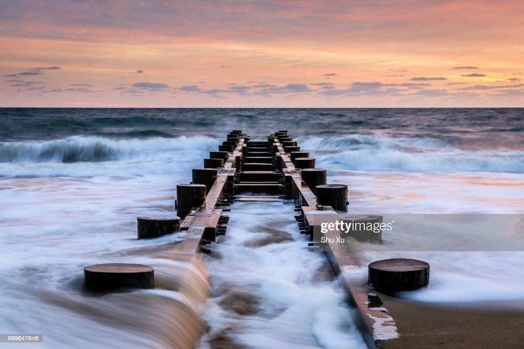 Rehoboth Beach Piers At Dawn High Res