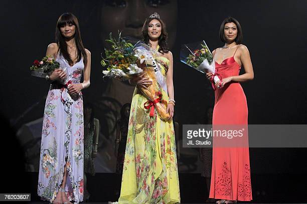 Rei Hamada Miss Universe Japan 2007 1st runner up Riyo Mori Winner of Miss Universe Japan 2007 and Akiko Chubachi Miss Universe Japan 2007 2nd runner...