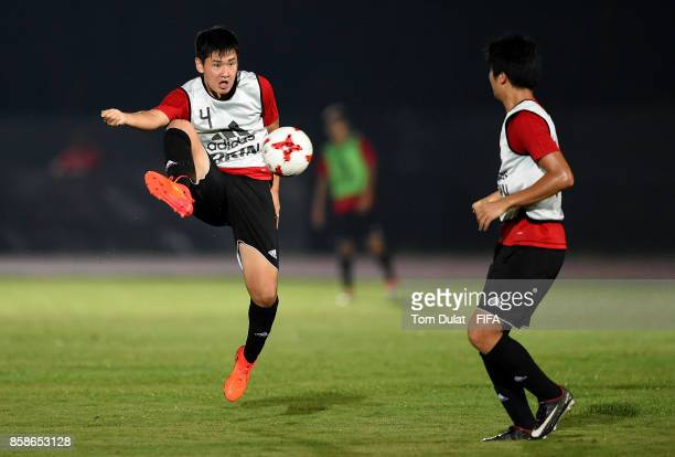 Rei Hirakawa in action during Japan training session ahead of the FIFA U17 World Cup India 2017 tournament on October 7 2017 in Guwahati India