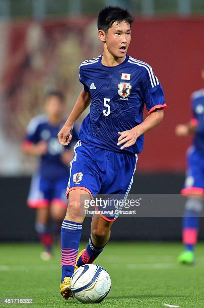 Rei Hirakawa of Japan runs with the ball during the friendly match between Thailand U16 and Japan U15 at Leo Stadium on July 23 2015 in Bangkok...