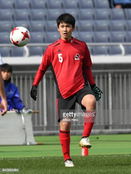 Rei Hirakawa of U18 JLeague XI in action during the Xerox Super Cup Next Generation match between U18 JLeague XI and Japan High School XI at Nissan...