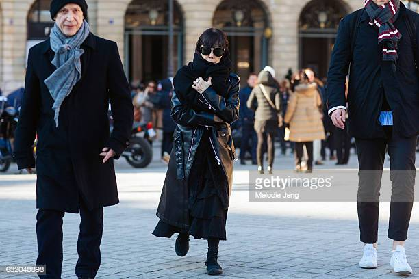 Rei Kawakubo and Adrian Joffe after the Balenciaga show at Place Vendome on January 18 2017 in Paris France