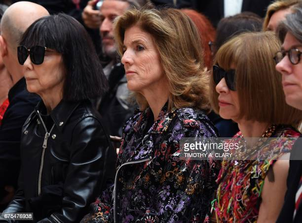 Rei Kawakubo Caroline Kennedy and Anna Wintour attend the Costume Institute press preview on May 1 2017 for 'Rei Kawakubo/Comme des Garçons Art of...