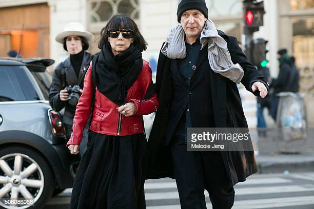 Rei Kawakubo Comme des Garcons creative director and Adrian Joffe Dover Street Market and Comme des Garcons presiden exit the Gosha Rubchinskiy show...