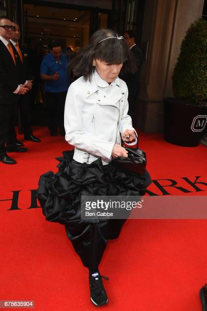 Rei Kawakubo leaves from The Mark Hotel for the 2017 'Rei Kawakubo/Comme des Garçons Art of the InBetween' Met Gala on May 1 2017 in New York City