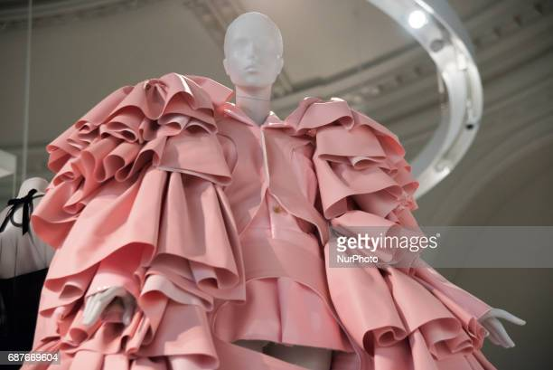 Rei Kawakubo of Comme Des Garçons collaboration with Maison Balenciaga for AW16 at the very first ever UK exhibition of the fashion designer...