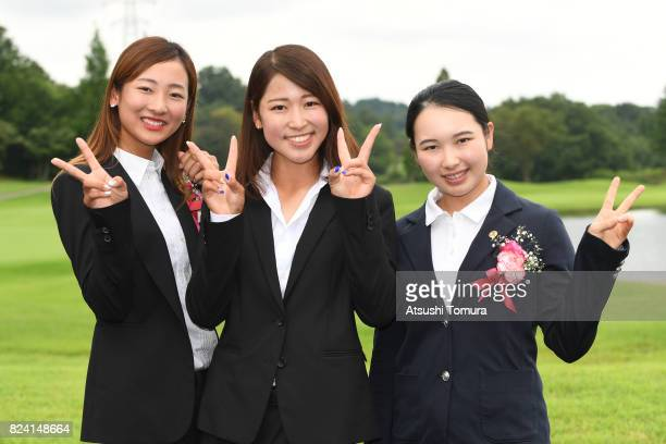 Rei Matsuda Aya Tamura and Sakura Koiwai of Japan pose for photo during the ceremony of the LPGA ProTest at the Kosugi Country Club on July 29 2017...