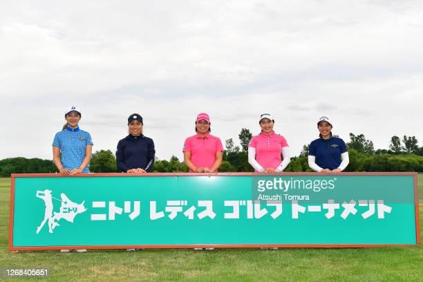 Rei Matsuda Eri Okayama Saki Nagamine Sakura Koiwai and Mizuki Tanaka of Japan pose for a photo during a practice round ahead of the Nitori Ladies...