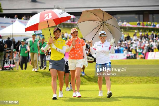 Rei Matsuda Hina Arakaki and Minami Katsu of Japan walk on the 1st hole during the final round of the Chukyo TV Bridgestone Ladies Open at Chukyo...