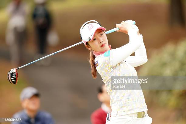 Rei Matsuda of Japan hits a tee shot on the 5th hole during the first round of the AXA Ladies Golf Tournament at the UMK Country Club on March 29...