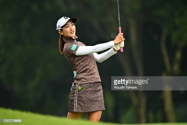Rei Matsuda of Japan hits her second shot on the 13th hole during the first round of the Earth Mondamin Cup at the Camellia Hills Country Club on...
