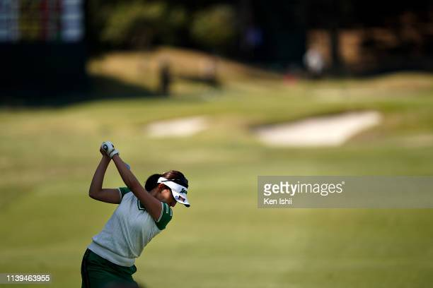 Rei Matsuda of Japan hits her second shot on the 17th hole during the final round of the AXA Ladies Golf Tournament at the UMK Country Club on March...