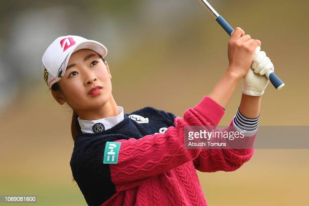 Rei Matsuda of Japan hits her second shot on the 18th hole during the final round of the Daio Paper Elleair Ladies Open at Elleair Golf Club...