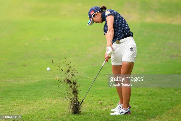 Rei Matsuda of Japan hits her second shot on the 5th hole during the third round of the Ai Miyazato Suntory Ladies Open Golf Tournament at Rokko...