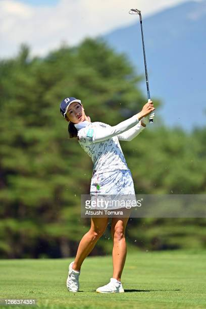 Rei Matsuda of Japan hits her second shot on the 5th hole during the second round of the NEC Karuizawa 72 Golf Tournament at the Karuizawa 72 Golf...