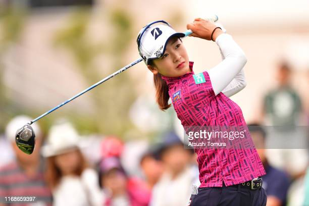 Rei Matsuda of Japan hits her tee shot on the 10th hole during the final round of Karuizawa 72 Golf Tournament at Karuizawa 72 Golf North Course on...