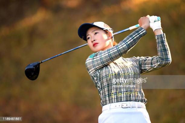 Rei Matsuda of Japan hits her tee shot on the 11th hole during the third round of the Daio Paper Elleair Ladies at Elleair Golf Club Matsuyama on...