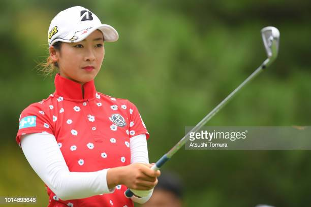 Rei Matsuda of Japan hits her tee shot on the 12th hole during the second round of the Karuizawa 72 Golf Tournament at the Karuizawa 72 Golf North...