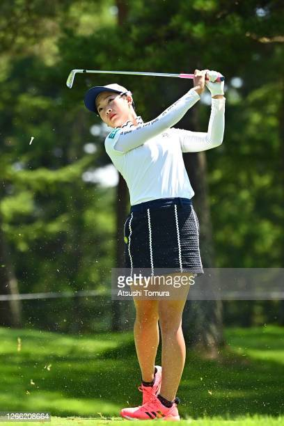 Rei Matsuda of Japan hits her tee shot on the 12th hole during the first round of the NEC Karuizawa 72 Golf Tournament at the Karuizawa 72 Golf Kita...