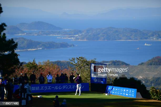 Rei Matsuda of Japan hits her tee shot on the 15th hole during the first round of the Daio Paper Elleair Ladies at Elleair Golf Club Matsuyama on...