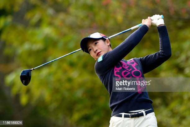 Rei Matsuda of Japan hits her tee shot on the 2nd hole during the first round of the TOTO Japan Classic at Seta Golf Course North Course on November...
